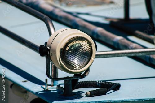 Fototapeta  Closeup of a boat moored in the port  obraz na płótnie