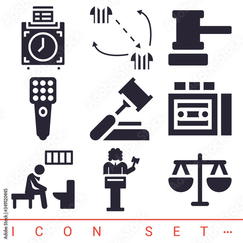 Fotografija 9 pack of magistrate filled web icons set