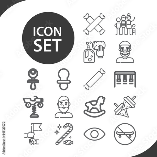 Simple set of adolescence related lineal icons. Wallpaper Mural