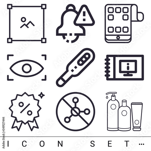 Valokuva 9 pack of biopsy lineal web icons set