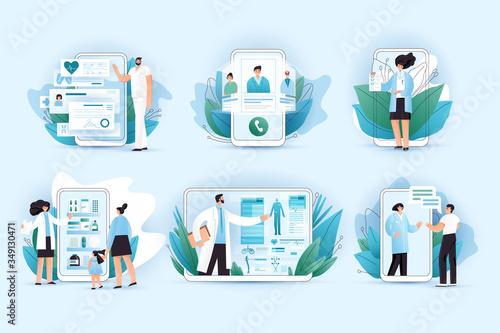 Fotografija Online medicine vector flat concept