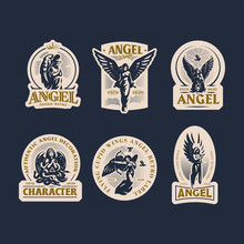 Vintage Emblems With Women Ang...