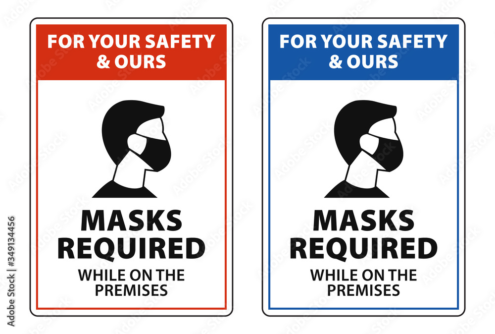 Fototapeta masks required while on the premises, face mask required sign vector
