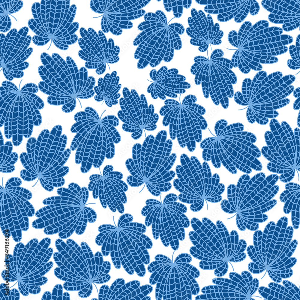 Seamless abstract floral background with leaves. Blue leaves on a white background.