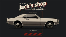 Retro Poster With Muscle Car. Vector Illustration.