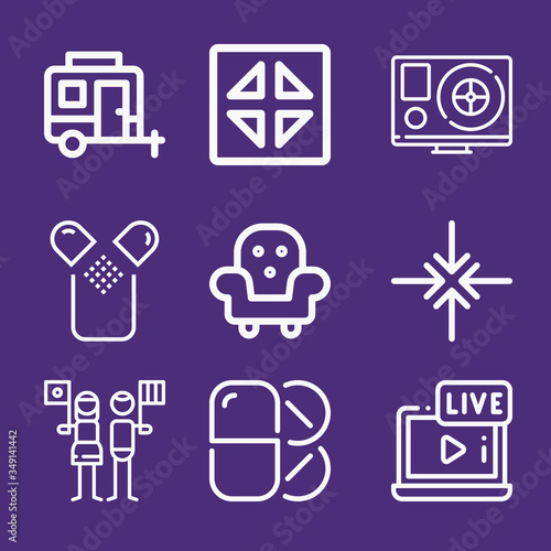 Set of 9 alleviate lineal icons Canvas Print