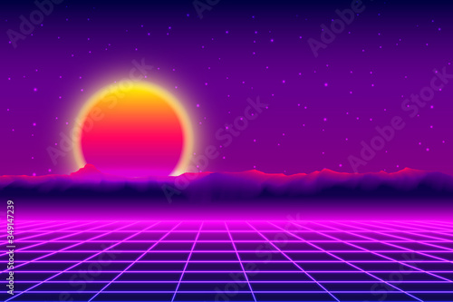 Retro 1980s Synthwave Glowing Neon Lights Plane Canvas Print
