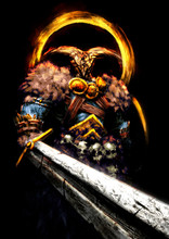 A Powerful Barbarian Warrior With Blue Skin, Wearing A Golden Helmet With Skull-shaped Horns And Woolen Shoulder Pads, Holds A Huge Sword In His Hand In Front Of Him . 2D Illustration.