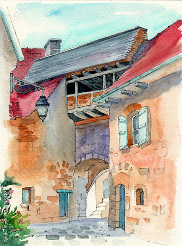 Fototapety, obrazy:   Watercolor illustration of an old European traditional house with an archway and a lantern on the wall