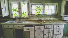 Old Abandoned Domestic Kitchen