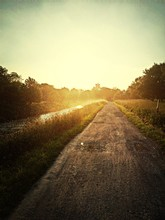 Dirt Road Along Canal In Green Landscape