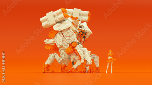 Photo Futuristic AI Battle Droid Cyborg Mech White an Orange with Female Handler Right