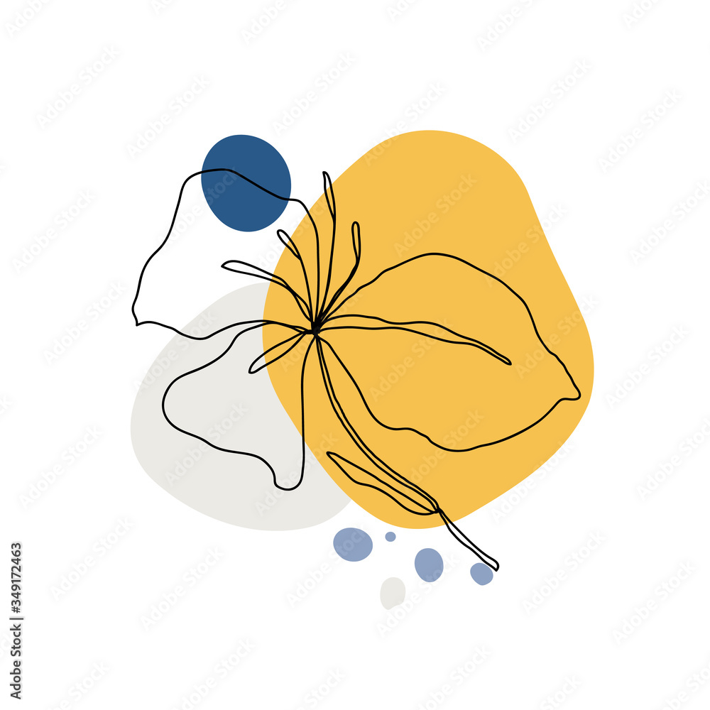 Fototapeta Leaves icon Line art.  Abstract minimal flora design for cover, prints, fabric and wallpaper. Vector illustration