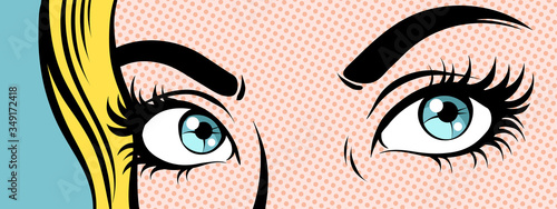 Woman's eyes. Close up, pop art vector illustration.