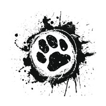 Black Ink Splat Paw Prints