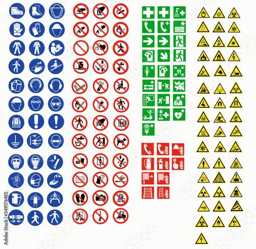 Obraz na plátně ISO 7010 SIGN WARNING SET SYMBOL SAFETY