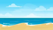 Empty Summer Beach Vector Ills...