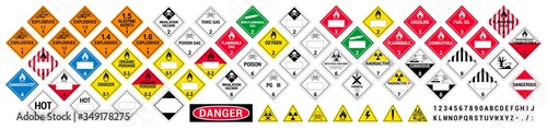 Obraz Vector hazardous material signs. Globally Harmonized System warning signs. All classes. Hazmat isolated placards. GHS - fototapety do salonu
