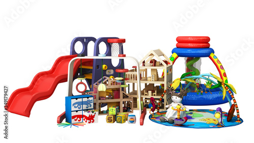 goods for kids childrens furniture and toys 3d render on white no shadow