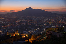Mount Vesuvius Seen From Its South Side. Evening Lights Coming On.