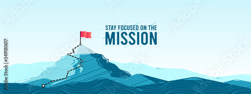 Fototapeta Flag on the mountain peak. Business concept of goal achievement or success. Flat style vector illustration obraz
