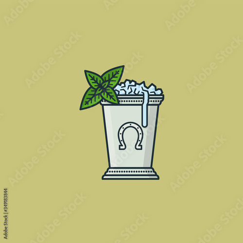 Fotografie, Tablou Kentucky Derby Mint Julep cocktail vector illustration.