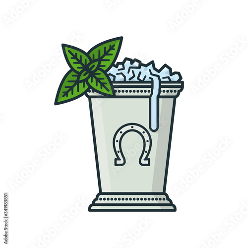 Stampa su Tela Mint Julep cocktail isolated vector illustration