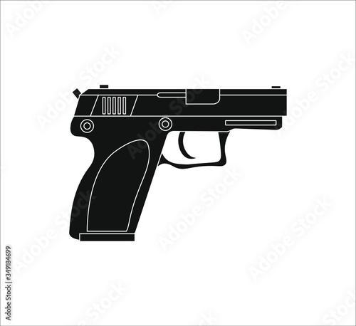 Stampa su Tela police pistol. Illustration for web and mobile design.