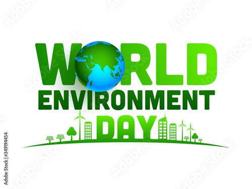 Obraz World Environment Day Text with 3d Earth Globe and Green City on White Background. - fototapety do salonu