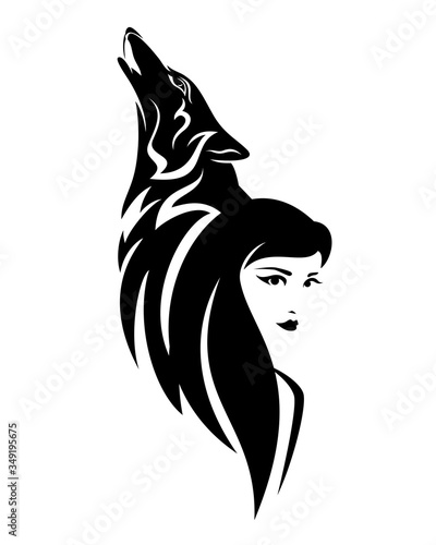 Fényképezés beautiful woman with long hair and howling wolf head - black and white vector po