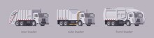 Vector White Garbage Truck Set. Front Loader Side Loader & Rear Loader. Isolated Illustration