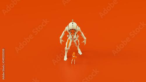 Платно Futuristic AI Hunter Droid Cyborg Mech White an Orange with Female Handler Top F