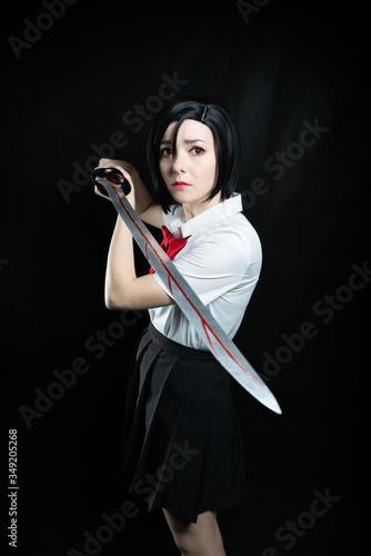 Fotografie, Obraz Girl with a katana in a school uniform