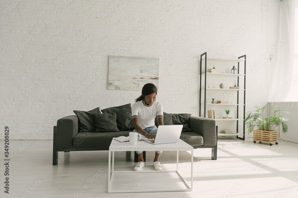 Fototapeta young african american freelancer working on laptop in spacious living room