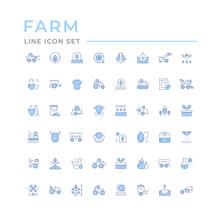 Set Color Line Icons Of Farmin...