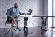 Man Without Pants In Working O...