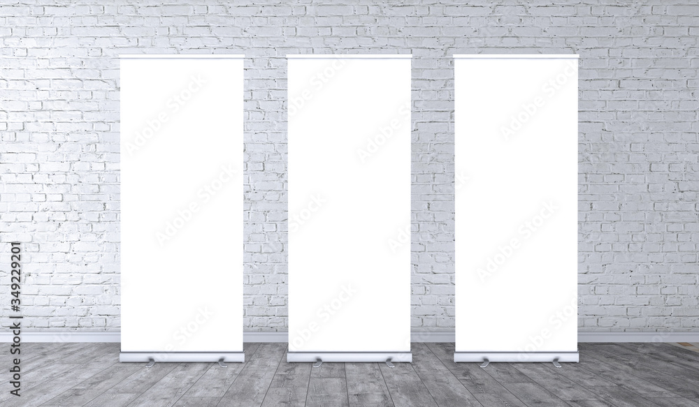 Fototapeta Empty three rollup banners stand. Blank template mockups. Exhibition stand 3 roll-up banners, screen for you design. Vertical white roll up for preview.