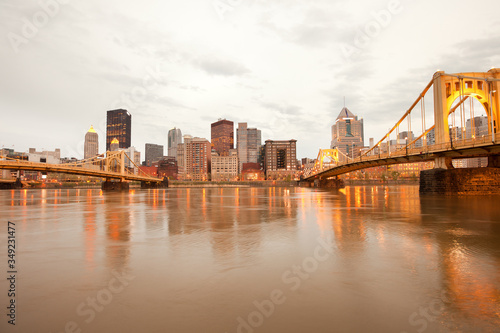 Downtown skyline and Allegheny River, Pittsburgh, Pennsylvania, United States Canvas Print
