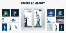 Statue Of Liberty Design Template Set. Banner, Geometric Multicolored Flat Design. New York. Booklet, Album Poster. Name Of The Annual Report Ad Text. X-banner. Information Banner, Vector Illustration