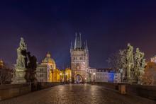 Old Town Bridge Tower On Charles Bridge, Prague At Night.