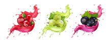 Splash Of Juice. Cranberry, Gooseberry, Black Currant Summer Fruits And Berries. 3d Realistic Vector Icon Set