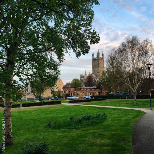 Garden By Gloucester Cathedral Against Sky Slika na platnu