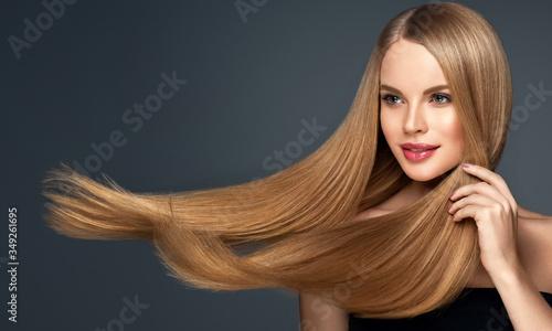Beautiful model woman with shiny  and straight long hair Tapéta, Fotótapéta