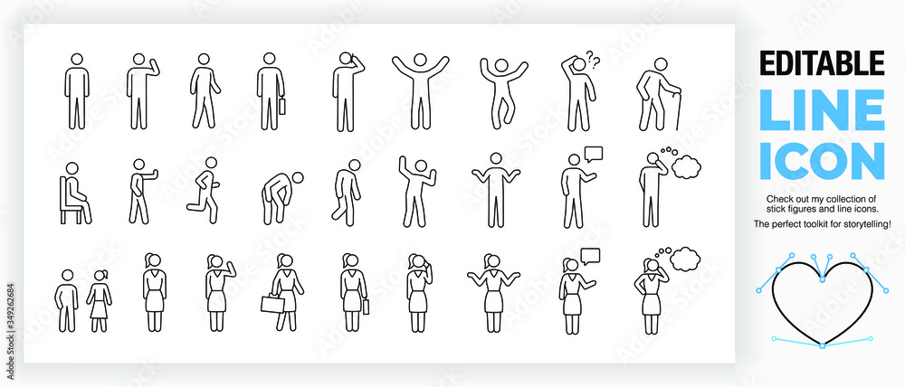 Fototapeta Editable set of stick figures, part of a huge collection of  line icons and stick figures!