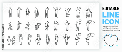 Foto Editable set of stick figures, part of a huge collection of  line icons and stic