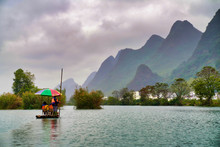 Bamboo Boat Ride On The Yulong River In Yangshuo, China
