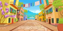 Road Panorama  Over A Street With Lanterns And Washed Clothes. Vector Illustration Of  Summer Street In Cartoon Style.