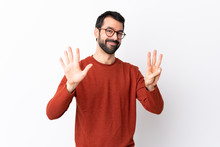 Caucasian Handsome Man With Beard Over Isolated White Background Counting Eight With Fingers