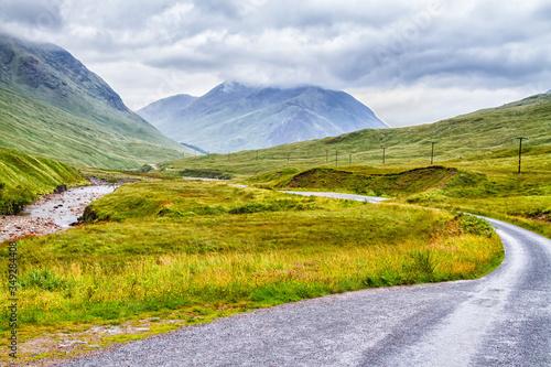 Платно Glencoe or Glen Coe and Glen Etive valley, panoramic view landscape in Lochaber, Scottish Higlands, Scotland, Great Britain, UK