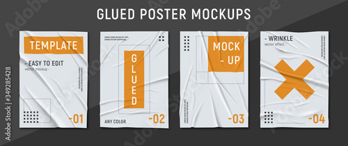 Vászonkép Glued Wrinkled Paper Set